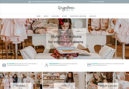 GingerBean Children's Boutique Website